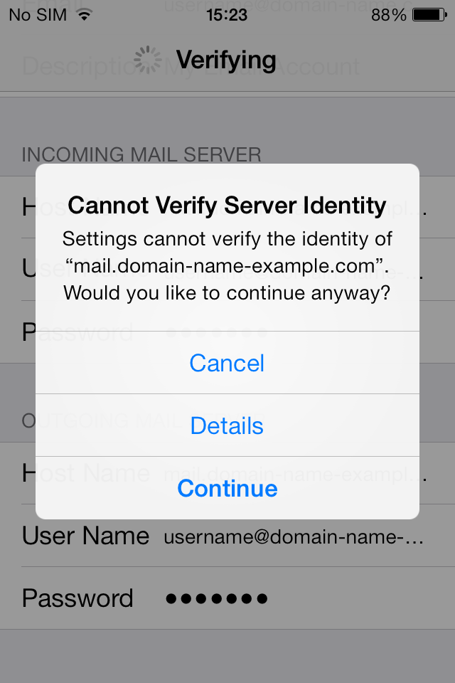 Image result for cannot verify server identity mail