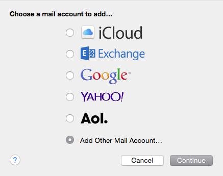 Choose a mail account