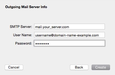 Outgoing Mail Server Info