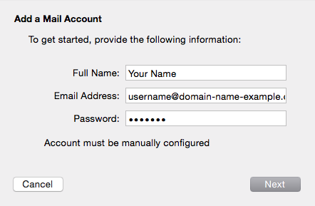 Account must be manually configured