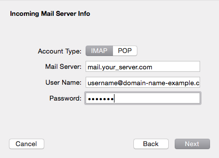 Incoming Mail Server Info