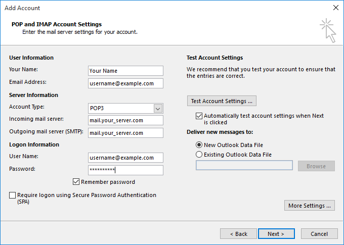 POP and IMAP account settings
